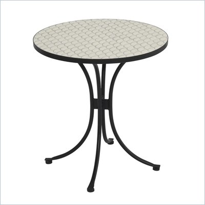 Home Styles Fishtail Tile Bistro Table &amp; 2 Newport Chairs in Off White