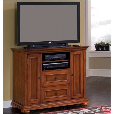 Home Styles Homestead Compact 44 Inch TV Stand in Distressed Warm Oak Finish