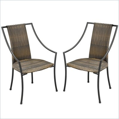Home Styles Laguana Dining Chair in Black and Taupe (Set of 2)
