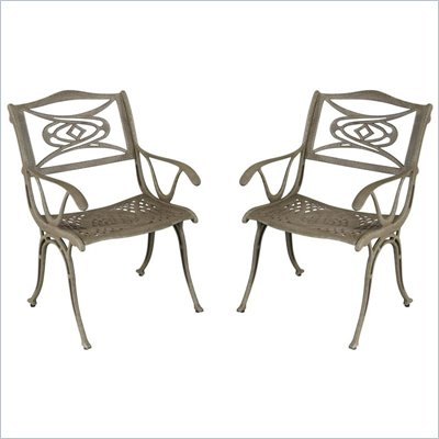 Home Styles Malibu Arm Dining Chair in Brown Finish (Set of 2)
