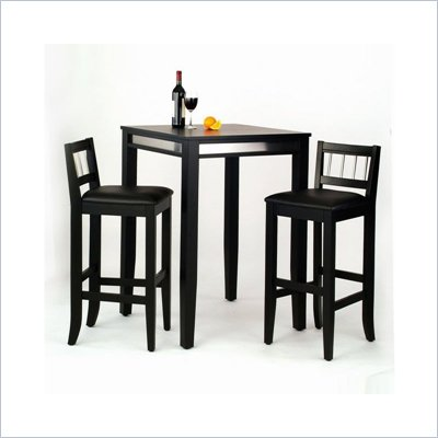 Home Styles Furniture Manhattan 3 Piece Pub Set in Black