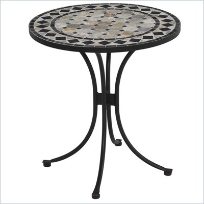 Home Styles Marble Bistro Table in Black &amp; Gray