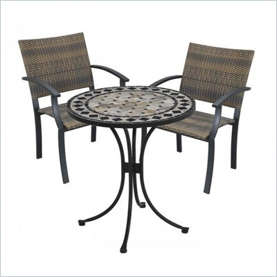 Home Styles Marble Bistro Table &amp; 2 Newport Arm Chairs in Black &amp; Gray