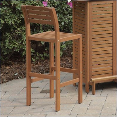Home Styles Montego Bay 29 Inch Outdoor Bar Stool in Eucalyptus Finish