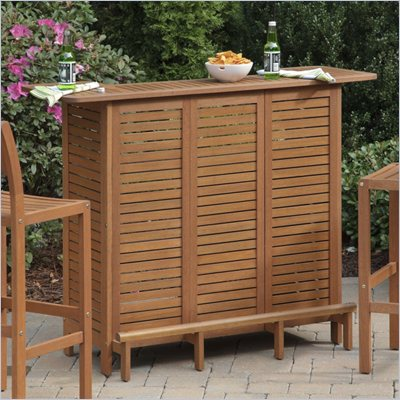 Home Styles Montego Bay U-Shaped Outdoor Bar in Eucalyptus Finish