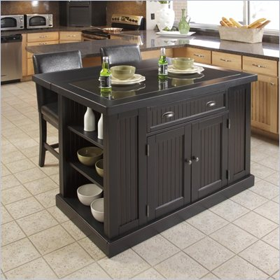 Home Styles Nantucket Island and Two Stools in Distressed Black Finish