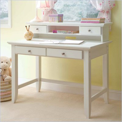 Home Styles Naples Student Desk and Hutch Set in White Finish
