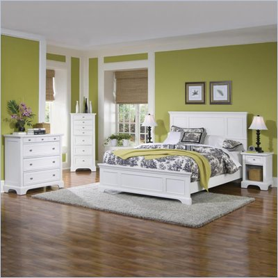 Home Styles Naples Queen Panel Bed 3 Piece Bedroom Set in White Finish