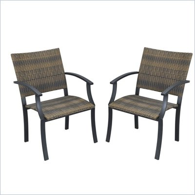 Home Styles Newport Arm Chairs in Black/Brown  (Set of 2)