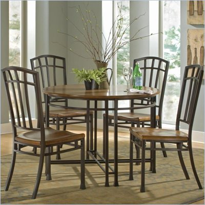 Home Styles Oak Hill 5 Piece Round Casual Dining Set in Oak Finish