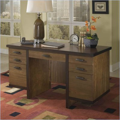Home Styles Omni Pedestal Wood Laptop Desk in Walnut Finish