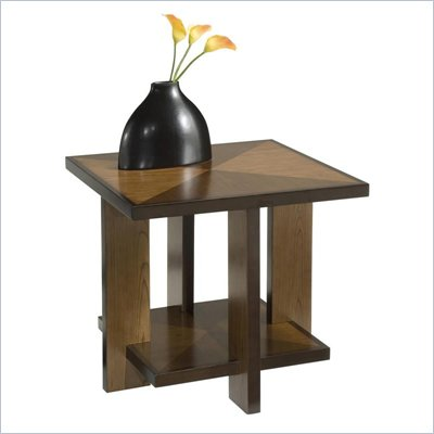 Home Styles Omni Square Wood Side End Table in Walnut Finish