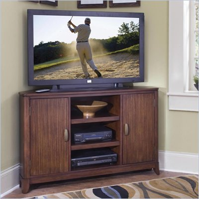 Home Styles Paris Entertainment Corner TV Stand in Mahogany Finish