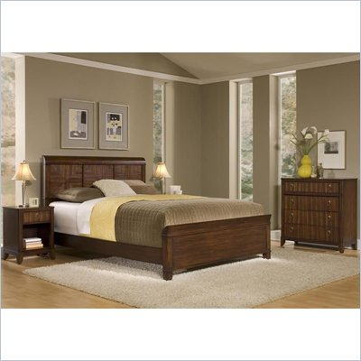 Home Styles Paris Queen Headboard, Night Stand &amp; Chest in Mahogany