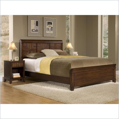 Home Styles Paris Queen Bed &amp; Night Stand in Mahogany