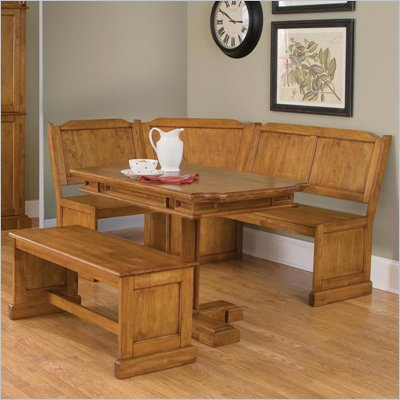 Home Styles 3 PC Corner Kitchen Dining Nook Set in Distressed Oak