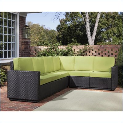 Home Styles Riviera Six Seat L Shape Sectional in Green Apple