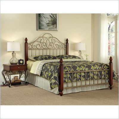 Home Styles St. Ives Bed and Two End Tables in Cinnamon Cherry