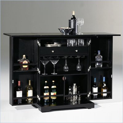 Home Styles Furniture Steamer Trunk Folding Home Bar in Ebony