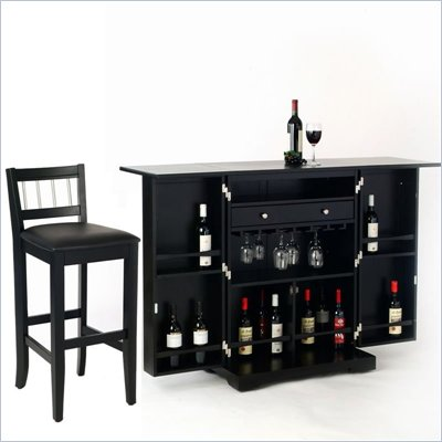 Home Styles Furniture Steamer Black Folding Home Bar Set
