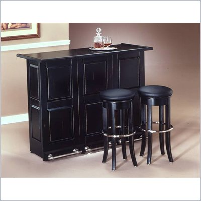 "Home Styles Furniture Ebony Folding Home Bar with Single 30"" Swivel Bar Stool in Black and Chrome"