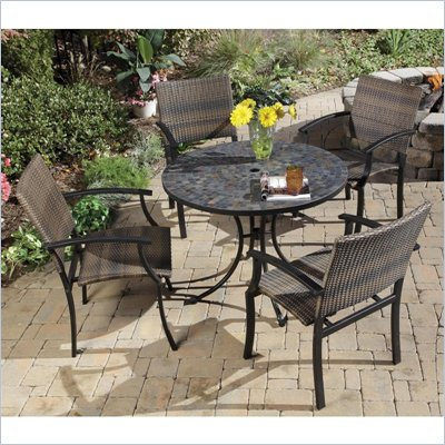 Home Styles Stone Harbor Table &amp; 4 Newport Arm Chairs in Black/Slate