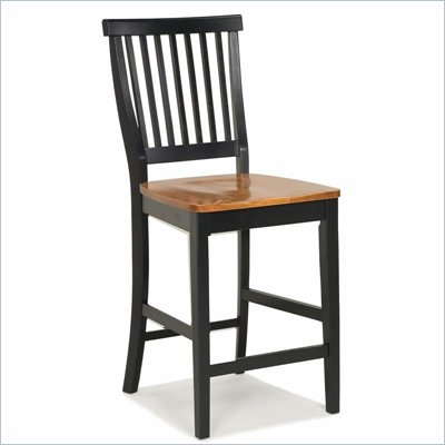 Home Styles Wood Counter Height Kitchen Stool in Black and Oak Finish