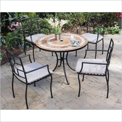 Home Styles Terra Cotta Bistro Table & 2 Cambria Chairs in Terra Cotta