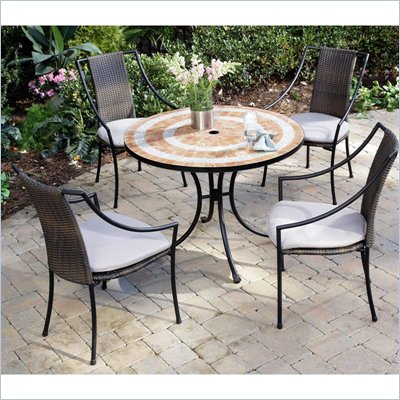 Home Styles Valencia Table &amp; 4 Laguna Slope Arm Chairs in Terra Cotta