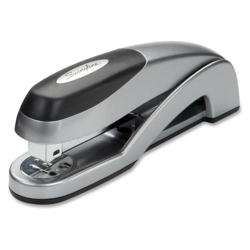 Swingline Optima Desktop Stapler Swingline - Staplers - SWI87801 - Stapler features die-cast, all-metal design and enhanced soft feel for maximum durability, comfort and performance. Staples up to 25 sheets of 20 lb. paper with 25 percent greater capacity than standard desktop staplers when using S.F. 4 staples. Stapler offers jam-free performance. General Information Manufacturer: ACCO Brands Corporation Manufacturer Part Number: S7087801 Manufacturer Website Address: http://www.acco.com Product Name: Optima Desk Stapler Packaged Quantity: 1 Package Type: Retail Product Information Staple Capacity: 210 Staple Size: 1/4   Stapler Type: Full Strip Sheet Capacity: 25 of 20 lb Application/Usage: Paper  Anti Jamming,Comfortable Grip,Rotating Anvil,Soft Grip Physical Characteristics Color: Silver Material: Metal Miscellaneous Additional Information: Jam Free Guaranteed when used with Optima Premium or S.F.4 Premium staples Warranty Limited Warranty: Lifetime