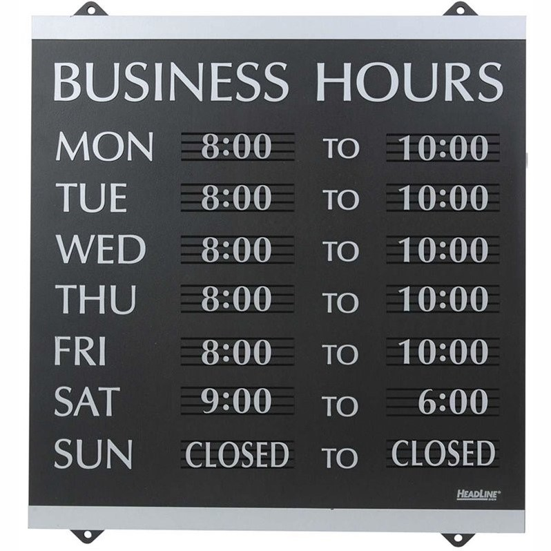 U.S. Stamp & Sign Century Business Hours Sign 134496