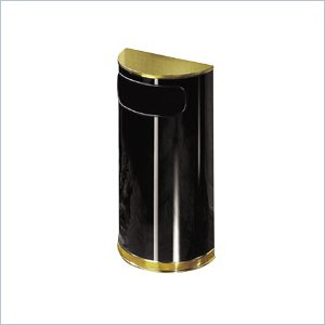 United Receptacle Designer Side Opening Half Round Waste Receptacle