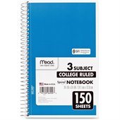 Mead 3-Subject Wirebound College Ruled Notebook