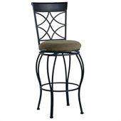 Linon Curves 30 Inch Back Bar Stool in Metallic Brown and Black