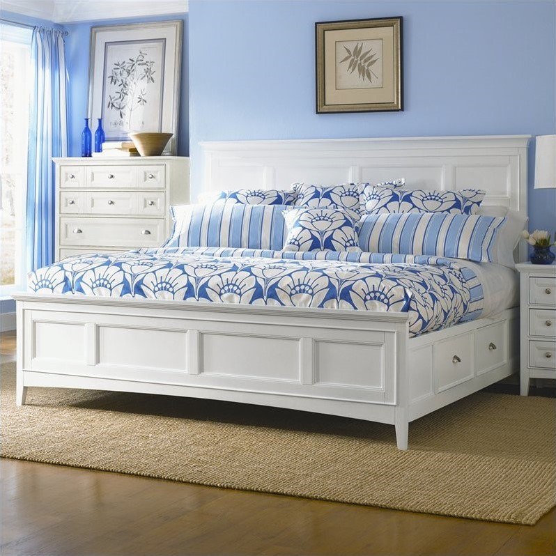 Kentwood Panel Bed With Storage In White B1475 54pkg 1