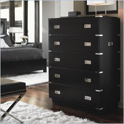Lexington Black Ice Zircon 5 Drawer Chest in Carbon Black Finish