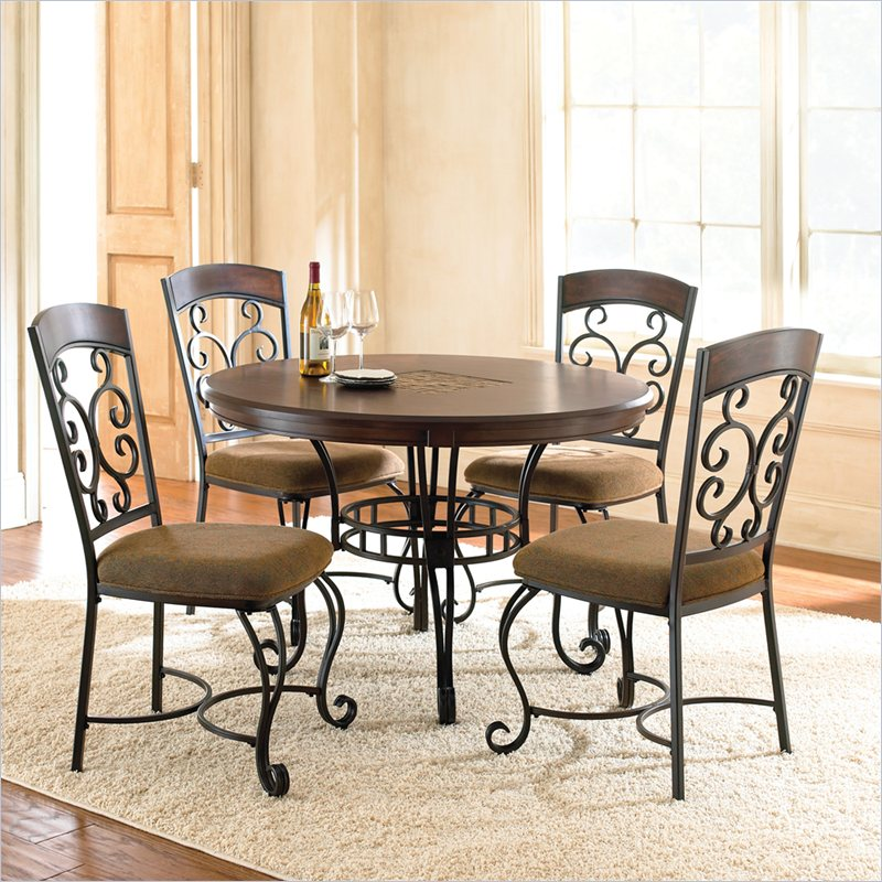 steve silver company greco round black metal cherry wood dining table ebay. Black Bedroom Furniture Sets. Home Design Ideas