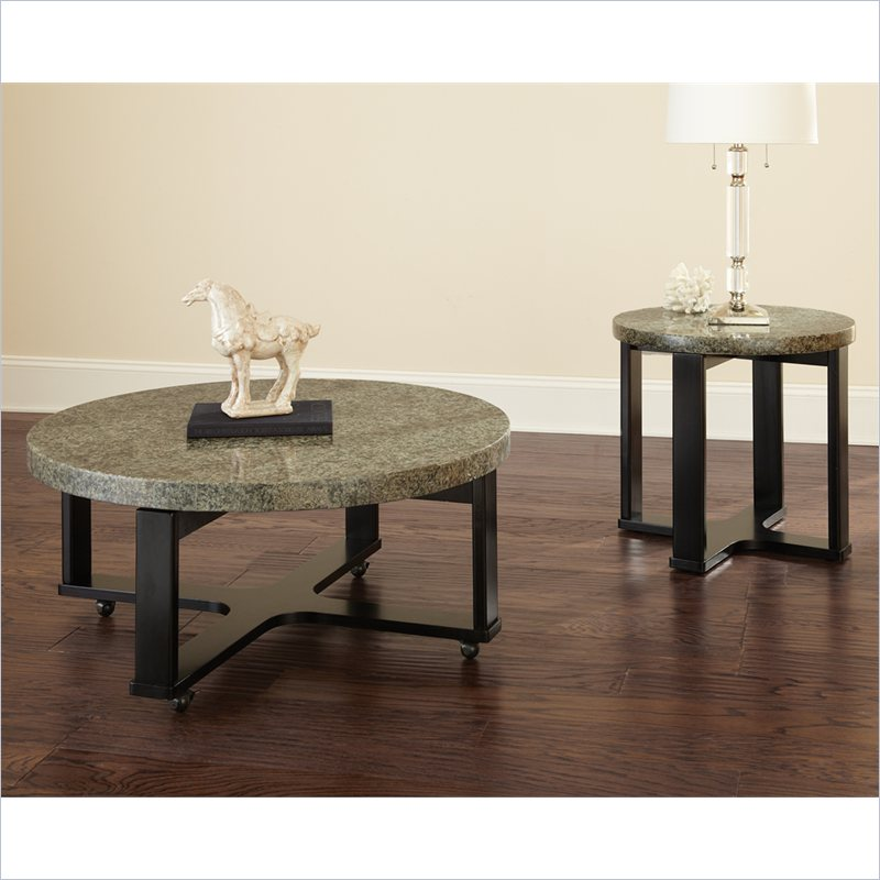 Steve silver company gabriel 3 pc green granite top cocktail coffee table set ebay Granite top coffee table sets