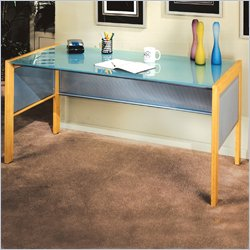 "Studio RTA Office Line 60"" Glass Top Writing Desk in Silver and Natural"