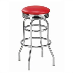 Regal Caracau 30 Inch High Round Backless Chrome Swivel Bar Stool