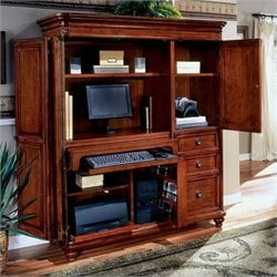 Allura Office Antigua Wood Computer Armoire in Cherry