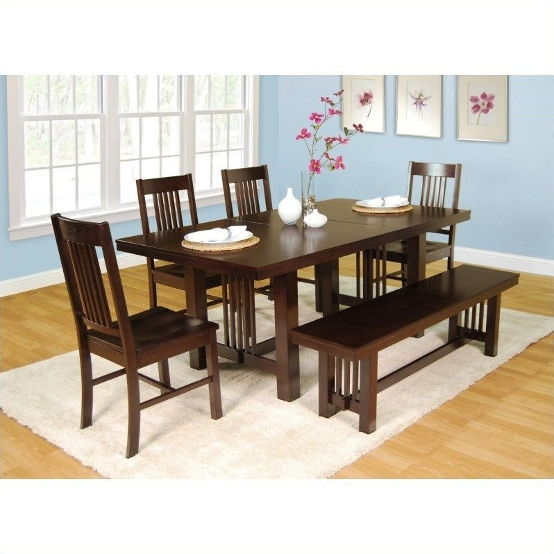 Walker Edison 6 Piece Meridian Wood Dining Set In Cappuccino Part 89