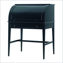Stanley Furniture American Perspective Hearth Black Emerson Cylinder Roll Top Wood Desk in Black