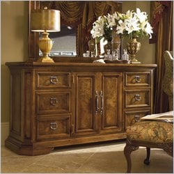 Stanley Furniture Tre Venti Oak Delano Door Double Dresser in Caramel