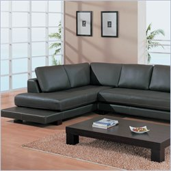 Sectional Sofa in Black Leather