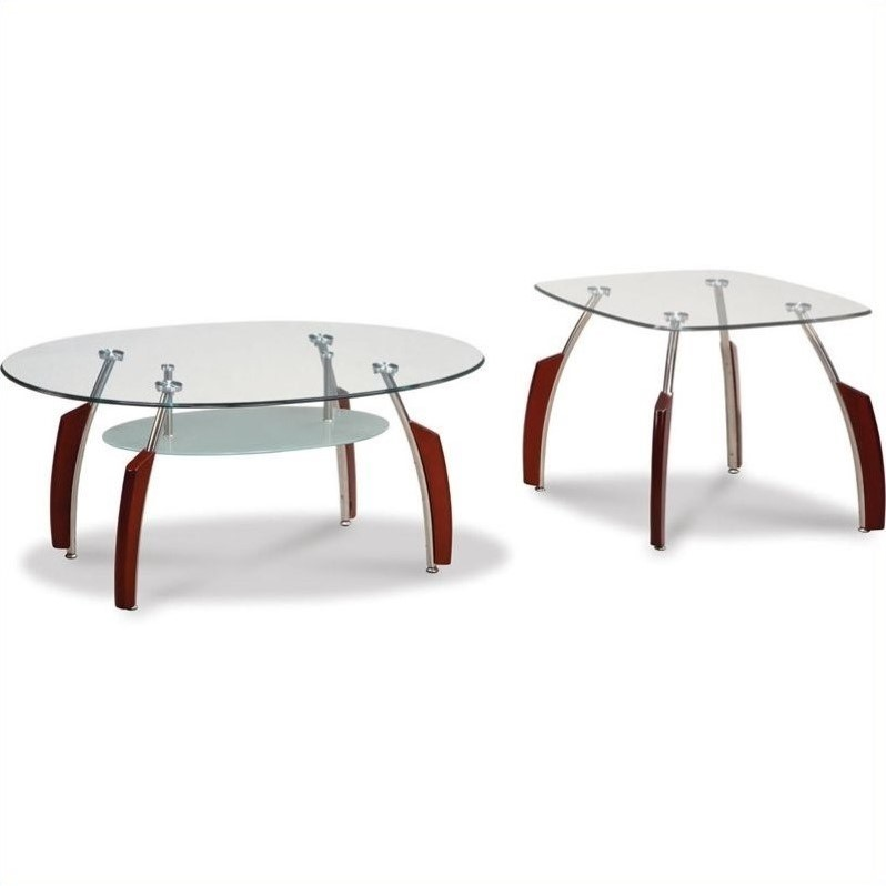 Francis Coffee Table Set With Glass Top In Mahogany 138mce Pkg