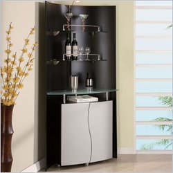 Global Furniture USA Black and Silver Corner Home Bar
