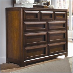 Lea Elite Expressions Kids 9 Drawer Double Dresser in Root Beer Cherry Finish