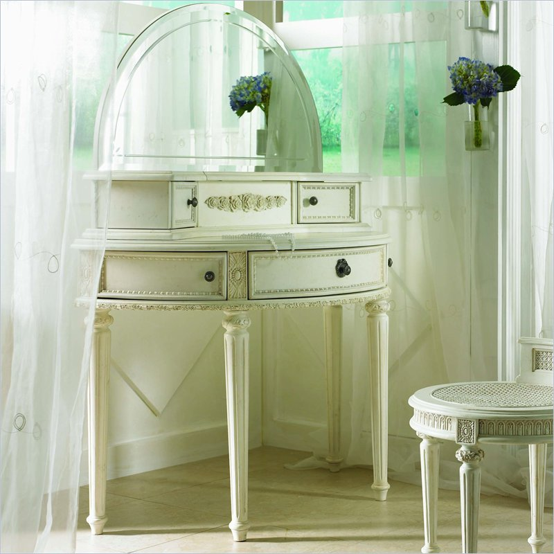 Lea Emma's Treasures Small Bedroom Wood Makeup Vanity Table with Mirror at Sears.com