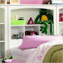 Lea Getaway Bookcase Headboard in White Finish